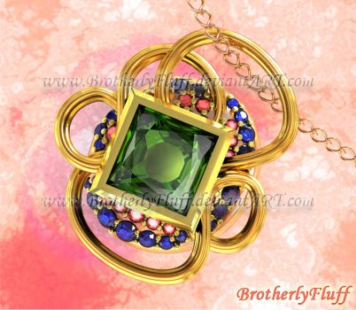 3D Tourmaline and pave pendant by BrotherlyFluff
