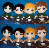 Shingeki no Kyojin/Attack on Titan plushies by animelover2day
