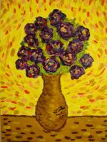 Purple Flowers in Orchid Vase (1st Sold Painting) by Dunn95