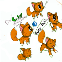 Cody the Kitty -SKETCH PAGE-COLORED by FUNKIferret