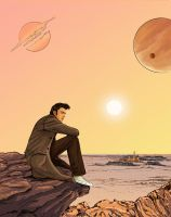 doctor who: tenth  doctor alone on the rock by DameEleusys