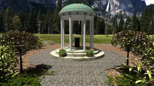 Yosemite Fountain by fence-post