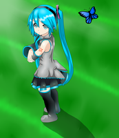 Miku and butterfly by KyuubiCore