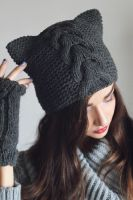 Gray Pattern Beanie by NatalieKnit