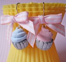 Cotton Candy Cupcake Earrings by FatallyFeminine