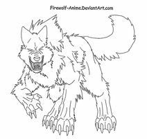 Furious Wolf LineArt by Firewolf-Anime