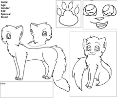 MS Paint Cat Ref Sheet Lineart by Snow-Leopard-Roxie