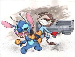 Rocket Raccoon and Stitch Battle by Bloodzilla-Billy
