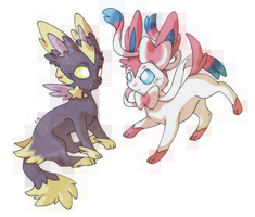 Fake Eeveelution and Ninfia by LegendaryDragonfly