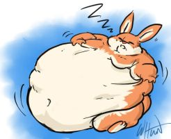 Sleeping FAT Bunny by digi-monster