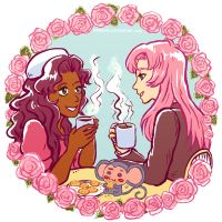 Utena and Anthy tea time by Maarika