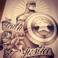 Captain America First draft B+G by funkt-green