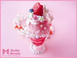 Strawberry Parfait Necklace by Dolly House by SweetDollyHouse