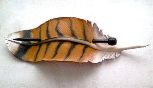 Hawk feather stick barrette - leather by RiverGypsyArts