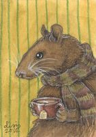 Rat With Tea by liselotte-eriksson