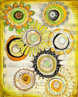 Flower burst Green and Yellow 2 by designgirl2