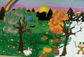 sun rise seasons mural by ruby-misted-eyes