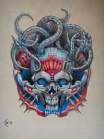 Tattoo design - Biomechanical skull commission by Xenija88
