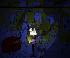 In the closet by himself... by XFoxxDie
