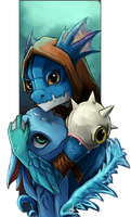 [DotA2 x LoL] Slark and fizz by Zeitzbach