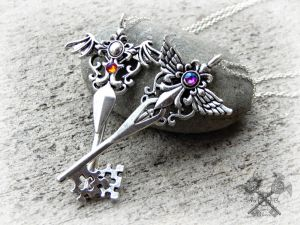 Angel and Demon Key to my Heart Necklace Set by ArtByStarlaMoore