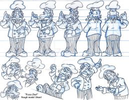 Pizza Chef Rough Model Sheet by Animator-who-Draws