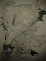 Cloud Vs Sephiroth by WillOTheWhisp
