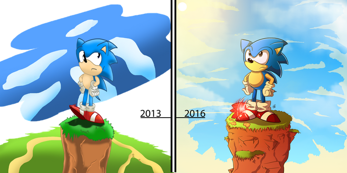 Classic Sonic: Then and Now by PattiethePentist