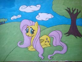 fluttershy with background REMASTERED by beginerbrony