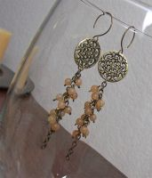 Peach adventurine earrings by asukouenn