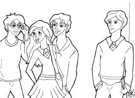 Draco, Ginny, Harry and Seamus by corsica