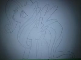 My fisrs drawed Fluttershy PHOTED by wingo265