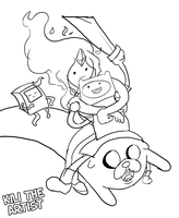 Finn and Flame Princess flying with Jake and Beemo by kiliberto