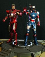 Hot Toys Iron Patriot and Silver Centurion by maulsballs