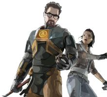 Gordon Freeman and Alyx Vance by Badtz08