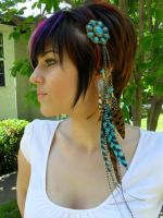 Turquoise Feather Hairclip by Hide-Your-Feathers