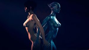 Morrigan and Liara 2 by Rescraft