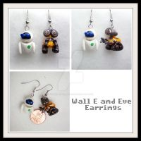 Wall E and Eve Earrings by stevoluvmunchkin