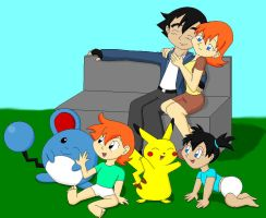 Ash, Misty and Kids by Da-Wabbit