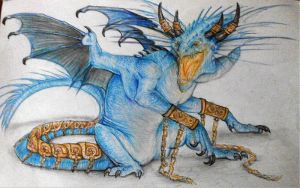 Blue dragon by WhiteRose2132