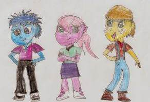 Bucky, Orion,and Peach Cobbler as Equestira Kids by FreeFlight8
