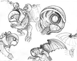 Bioshock Infinite - Songbird Sketches by Umbr3