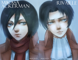 Mikasa + Rivaille Postcards by Londei