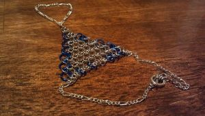Blue and Silver chain hand ornament by ulfchild