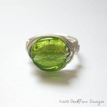 Absinthe Green Coin Wirework Ring by DarkFireRaven