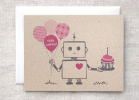 Happy Birthday Robot Card by happydappybits