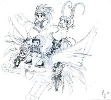 Tenchi and the Gang by kittywhiskas