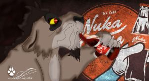 Nuka Drinking Nuka~Cola by coolwolfbro