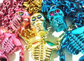 Metallic Skelly necklaces by pinkminx