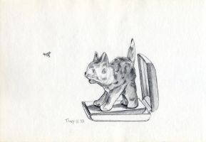 Cat Figurine with Insect by hank1